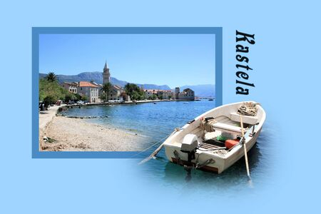 Design for postcard, Kastela, Croatia, with text photo