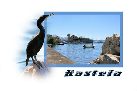 walking trail: Design for postcard, Kastela, Croatia, with text Stock Photo