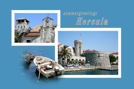 Design for postcard, Korcula, Croatia, with text Reklamní fotografie