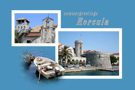 Ontwerp voor briefkaart, Korcula, Kroatië, met tekst