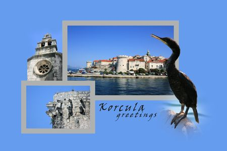 Design for postcard, Korcula, Croatia, with text photo
