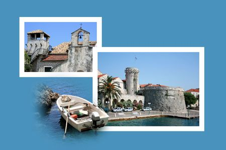 Design for postcard, Korcula, Croatia photo