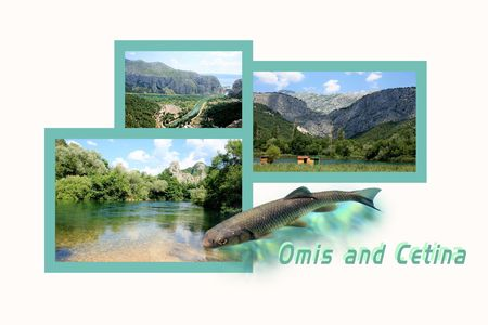 roman empire: Design for postcard, Omis and Cetina, Croatia, with text