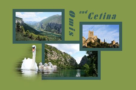 Design for postcard, Omis and Cetina, Croatia, with text photo