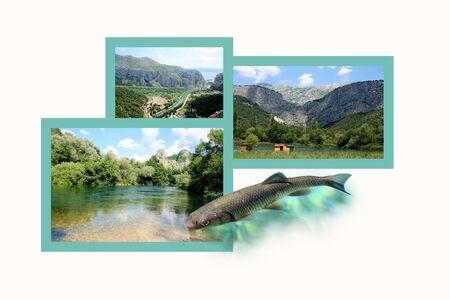 roman empire: Design for postcard, Omis and Cetina, Croatia Stock Photo