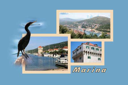 combi: Design for postcard, Marina, Croatia, with text