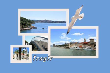 Design for postcard, Trogir, Croatia, with text photo