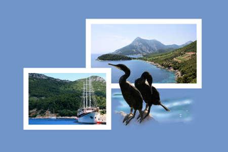 combi: Design for postcard, Trstenik, Croatia Stock Photo