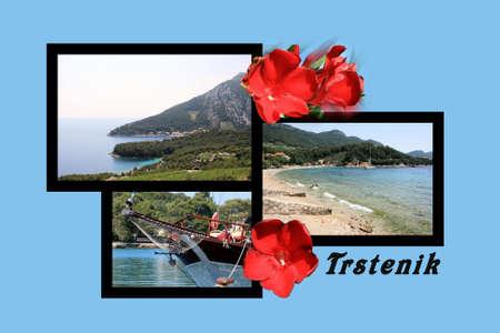 combi: Design for postcard, Trstenik, Croatia, with text