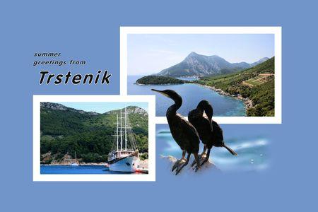 Design for postcard, Trstenik, Croatia, with text