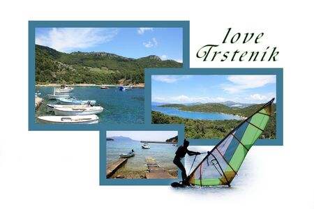 Design for postcard, Trstenik, Croatia, with text photo