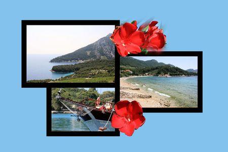 postcard design: Design for postcard, Trstenik, Croatia Stock Photo