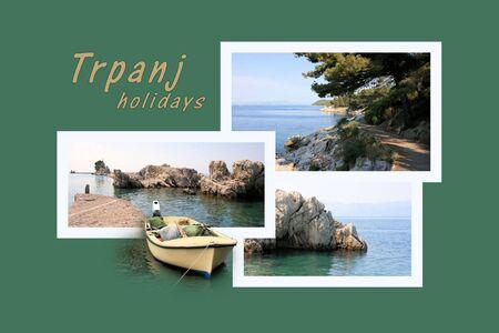 combi: Design for postcard, Trpanj, Croatia, with text