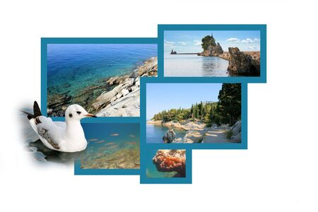 postcard design: Design for postcard, Trpanj, Croatia Stock Photo