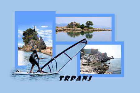 Design for postcard, Trpanj, Croatia, with text photo