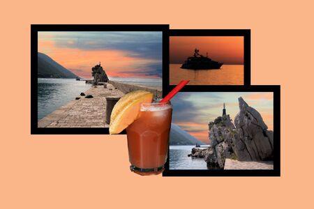 combi: Design for postcard, Trpanj, Croatia Stock Photo