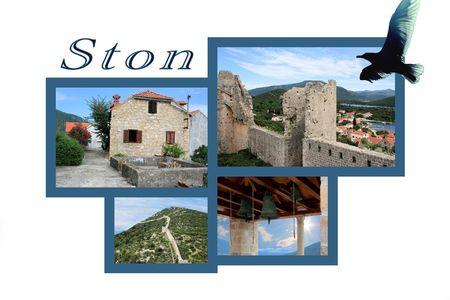 Design for postcard, Ston, Croatia, with text photo