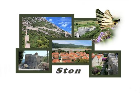 hiking trail: Design for postcard, Ston, Croatia, with text