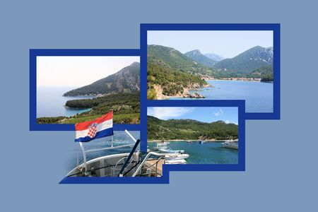 Design For Carte Postale, Peljesac, Croatie Banque D'Images Et