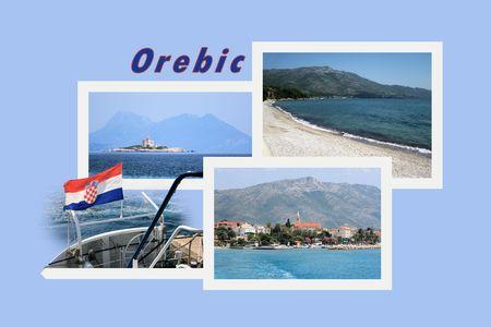 combi: Design for postcard, Orebic, Croatia, with text