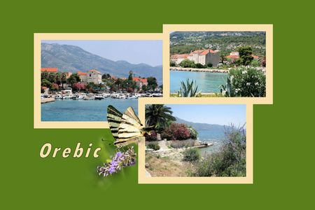 Design for postcard, Orebic, Croatia, with text photo