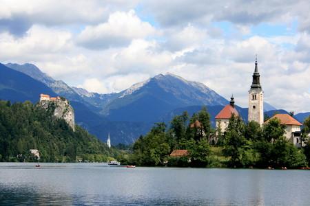karawanks: island in Lake Bled, Slovenia Stock Photo