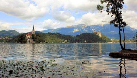 karawanks: view over lake Bled, Slovenia