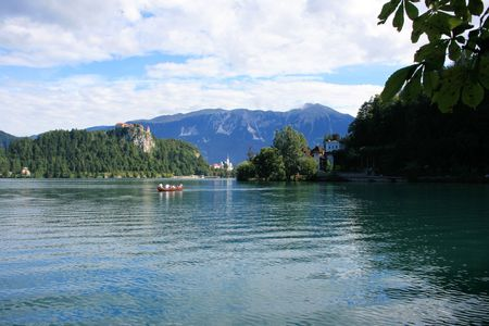 karawanks: lovely view on lake Bled, Slovenia Stock Photo