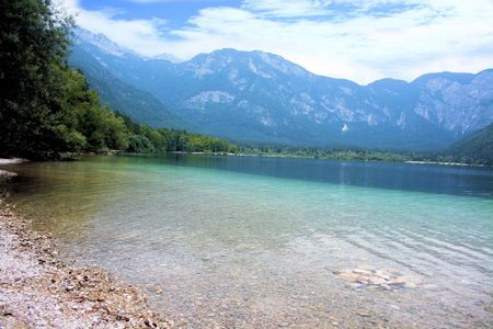 blue lake Bohinj, Slovenia