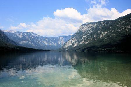 karawanks: reflexions on lake Bohinj, Slovenia