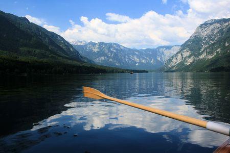 karawanks: rowing on lake Bohinj, Slovenia