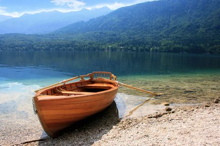karawanks: rowingboat on lake Bohinj, Slovenia