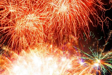 newyear night: red fireworks