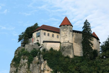 castle or lake Bled, Slovenia Editorial