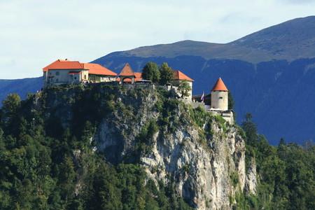 karawanks: lovely view on castle or lake Bled, Slovenia