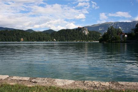 karawanks: nice view on lake Bled, Slovenia Stock Photo