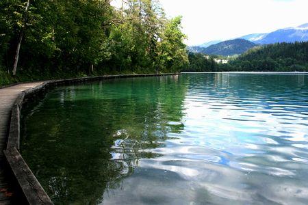 Walking around lake Bled, Slovenia Stock Photo
