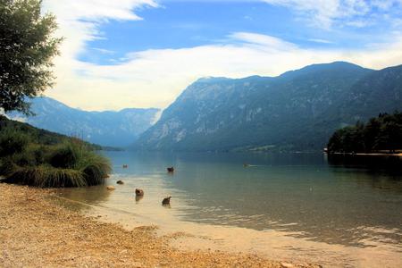 karawanks: view on Lake Bohinj Stock Photo