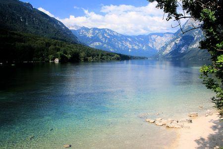 view blue Lake Bohinj Stock Photo