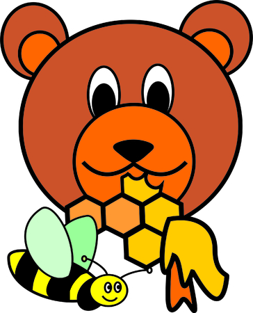 bumble: bear with honeyclomb and bumble bee Illustration