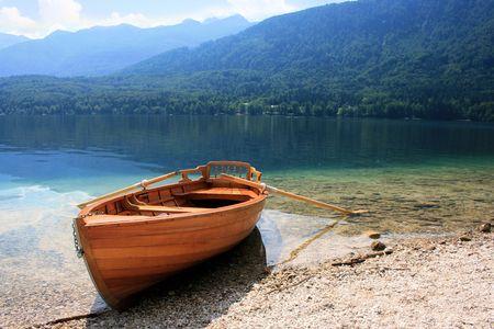 karawanks: rowboat and lake Bohinj, Slovenia Stock Photo