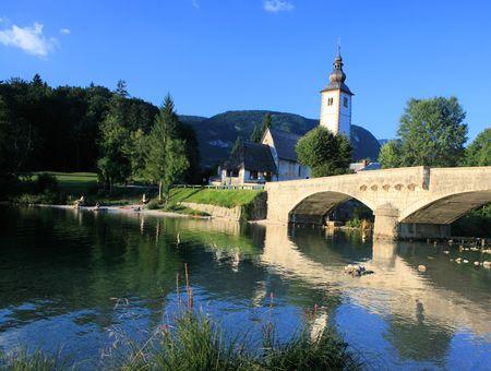 karawanks: lake Bohinj, Slovenia Stock Photo