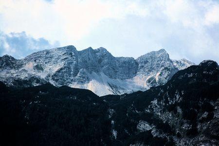 karawanks: mountains, view from lake Bohinj, Slovenia Stock Photo