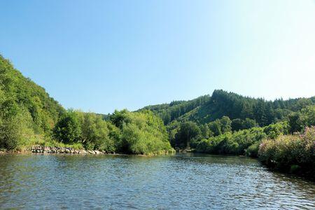 view on the river Semois, Belgium 版權商用圖片