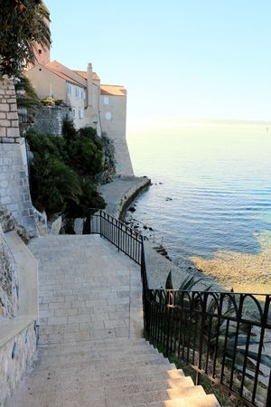 stairs in the old town of Rab, Croatia Stock Photo