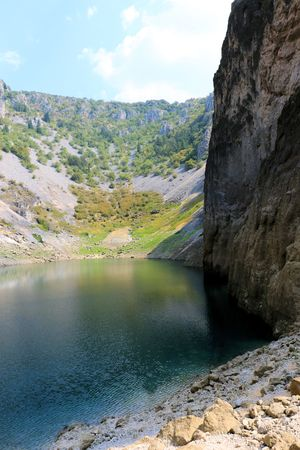 view on the blue lake in Imotski, Croatia