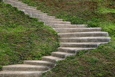 clay stone road in jungle: stone step stair in the garden hill Stock Photo