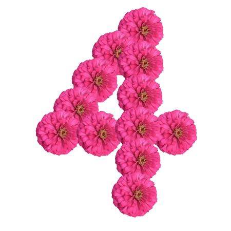 Flowers arranged into the shape of the number 4 on a pure white background.