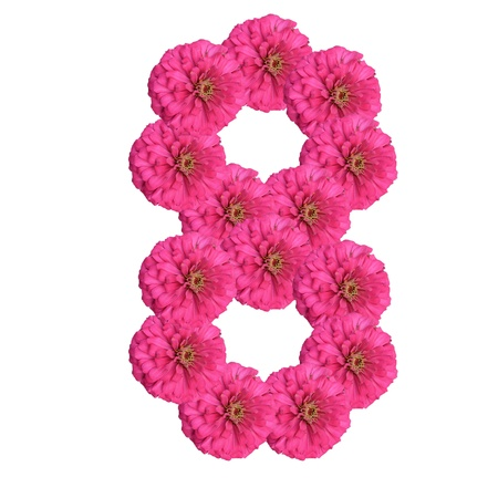 Flowers arranged into the shape of the number 8 on a pure white background.