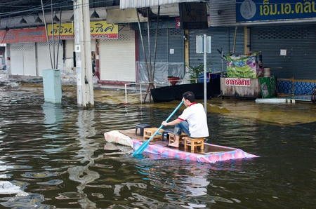worst: BANGKOK, THAILAND-NOVEMBER 8: People are using boats and rafts as a transportation through water during the worst flooding in decades on November 8, 2011 Ngam Wong Wan Road, bangkok, Thailand. Editorial